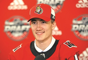 CHICAGO, IL - JUNE 24:  Alex Formenton is interviewed after being selected 47th overall by the Ottawa Senators during the 2017 NHL Draft at the United Center on June 24, 2017 in Chicago, Illinois.  (Photo by Jonathan Daniel/Getty Images)